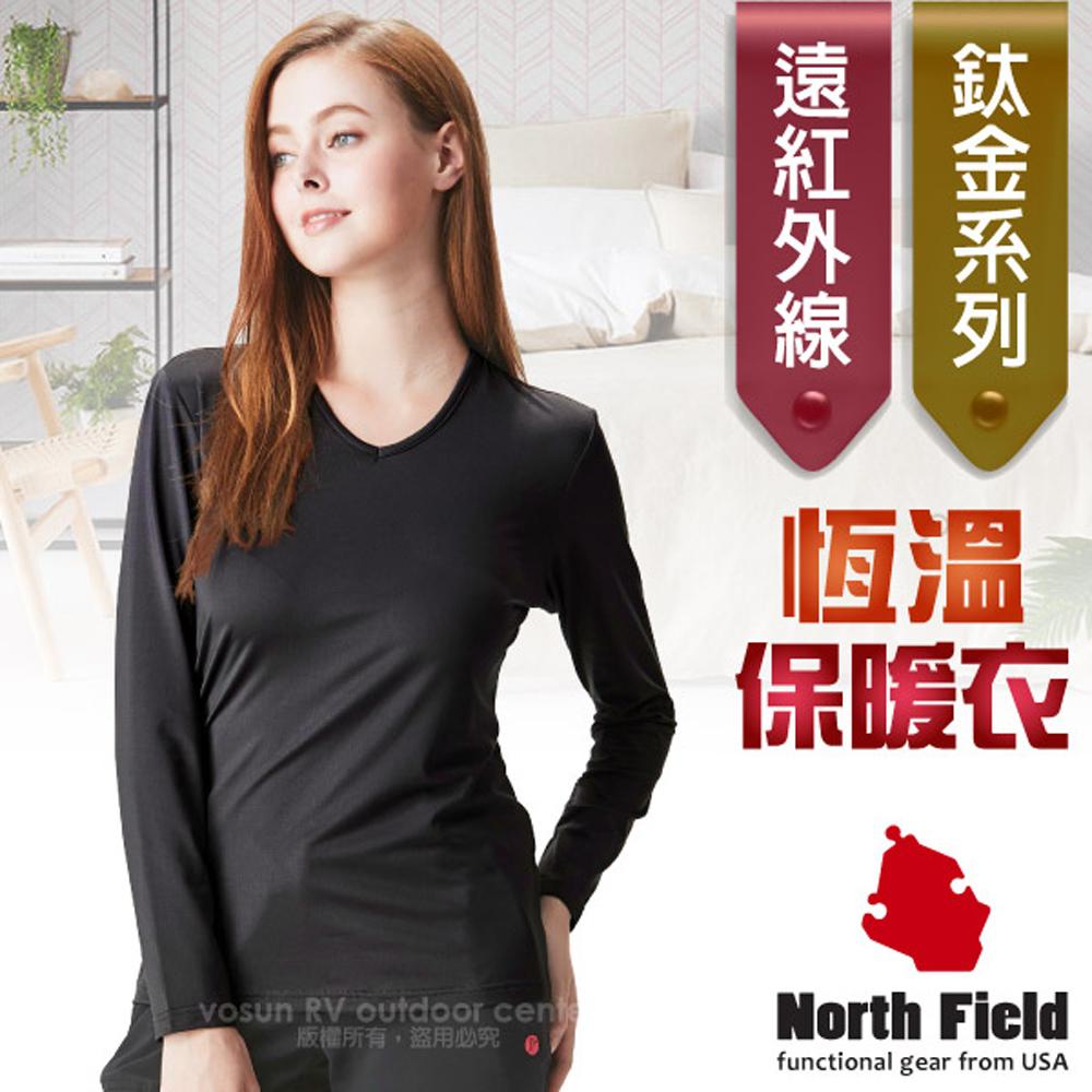 【美國 North Field】女新款 鈦金 遠紅外線+膠原蛋白V領控溫內刷毛保暖衛生衣(內衣)/8ND204B 岩黑