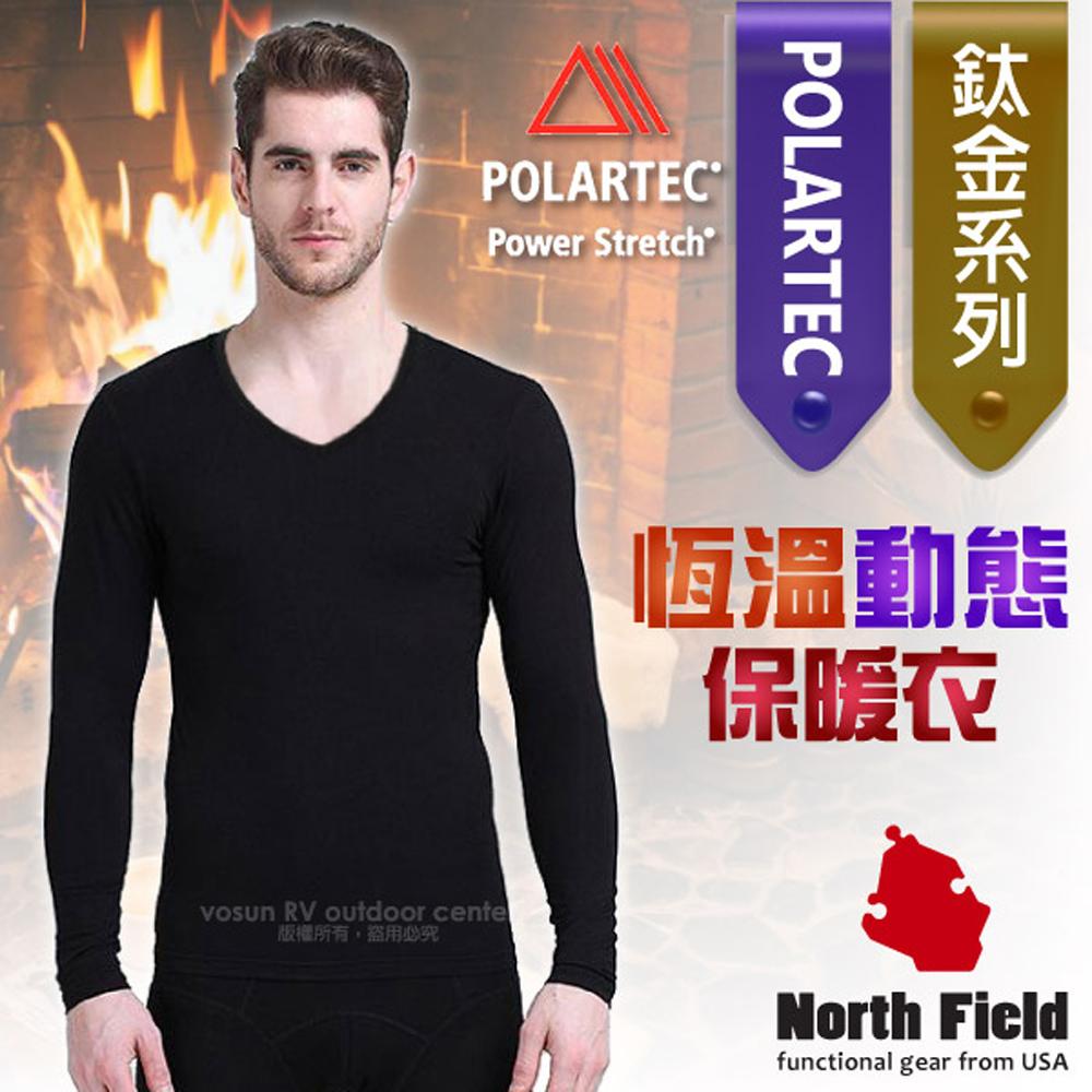 【美國 North Field】男新款 鈦金 Polartec Power Stretch V領控溫強刷毛保暖衛生衣(內衣)/8ND113B 黑色