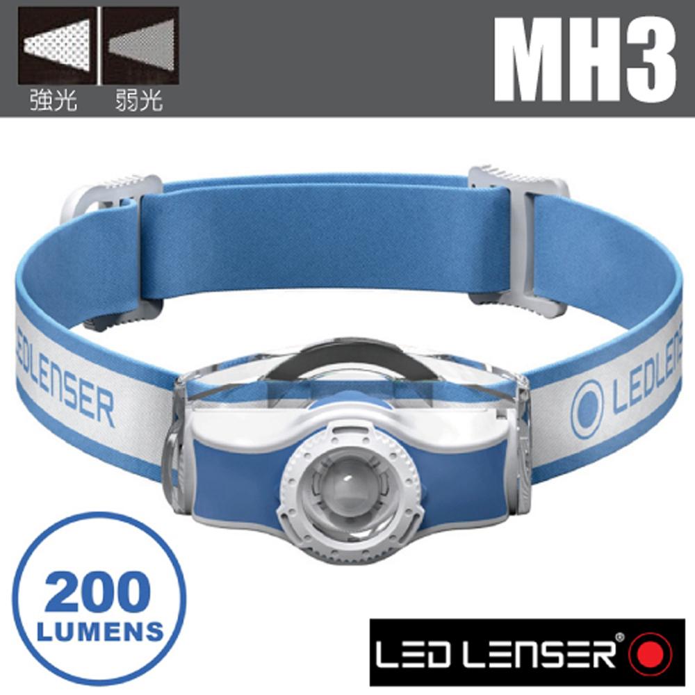 【德國 LED LENSER】MH3 專業伸縮調焦頭燈(200流明/IP54防水).電子燈/緊急照明.登山_501594 藍