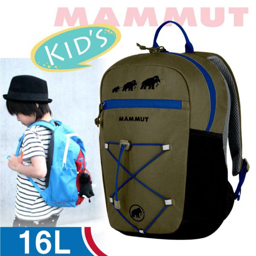 【瑞士 MAMMUT 長毛象】新款 First Zip 兒童背包16L(附玩偶.急救哨)小朋友書包/2510-01542-4073 橄欖綠/黑