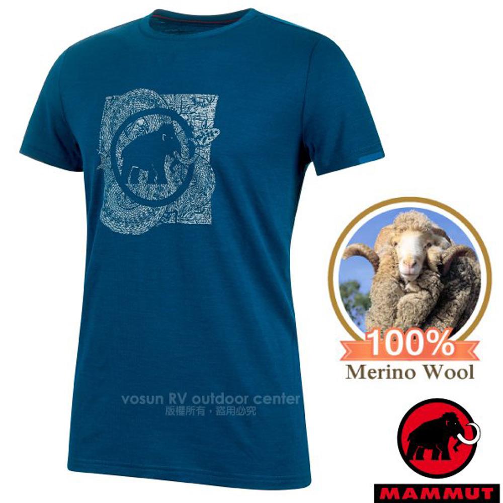 【瑞士 MAMMUT 長毛象】Alnasca 男新款 LOGO 美利諾羊毛控溫短袖圓領排汗衣_1017-00071-50134 波賽頓藍