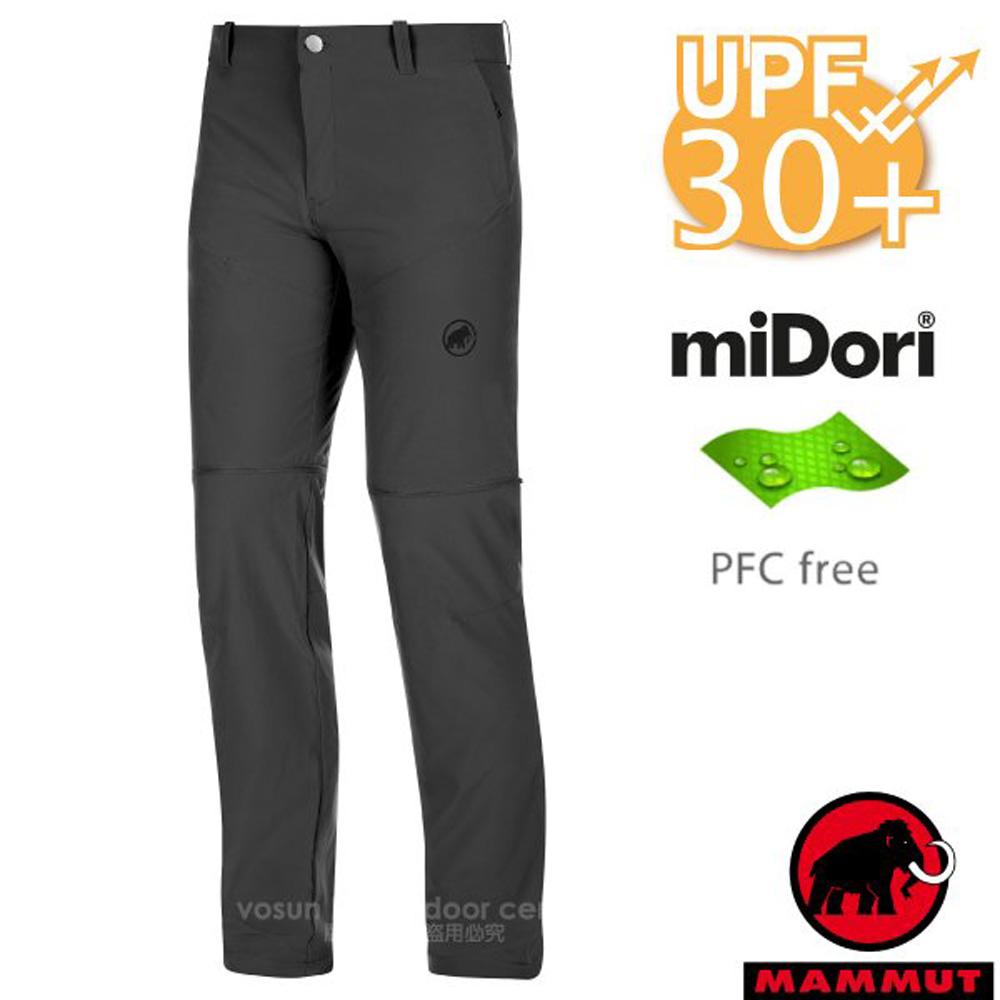【瑞士 MAMMUT 長毛象】男新款 Runbold Zip 輕量4向彈性抗UV透氣快乾排汗長褲/1022-00500-00150 幻影黑