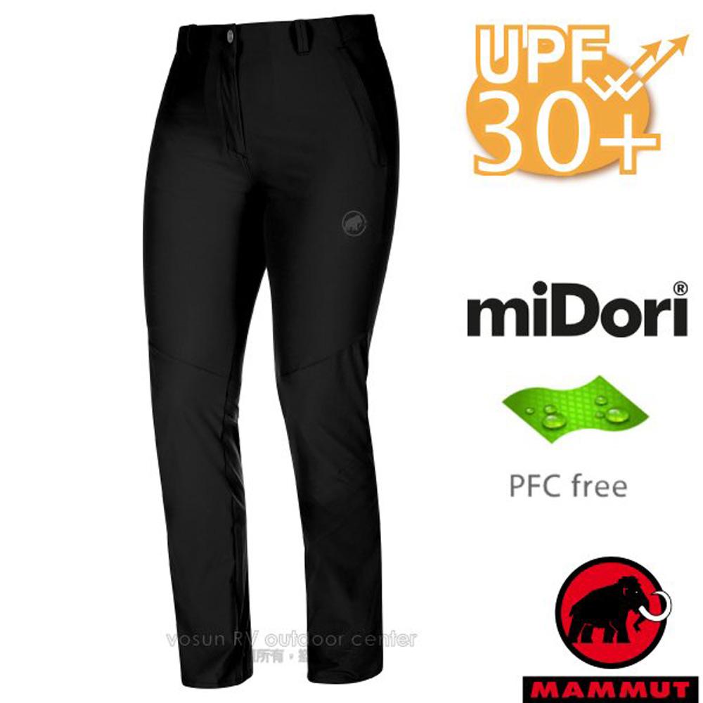 【瑞士 MAMMUT 長毛象】女新款 Runbold Pants 輕量4向彈性抗UV透氣快乾排汗長褲/1022-00490-0001 黑