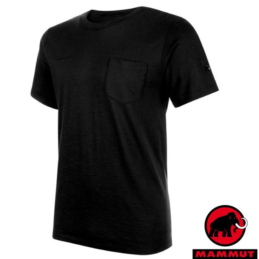 【瑞士 MAMMUT 長毛象】Cotton Pocket 男款 短袖圓領彈性多功能排汗上衣/1017-10001-0001 黑