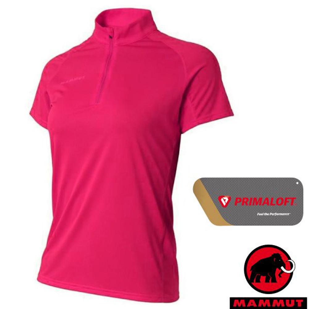 【瑞士 MAMMUT 長毛象】Performance Dry Zip 女新款 半開襟拉鍊短袖排汗上衣.立領衫/1017-00430-6085 桃紅