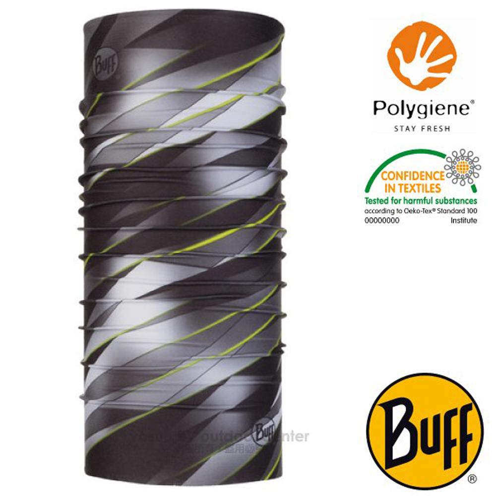【西班牙 BUFF】Coolnet UV 超輕量彈性透氣魔術頭巾(吸溼排汗+抗菌除臭)_119352 灰階律動