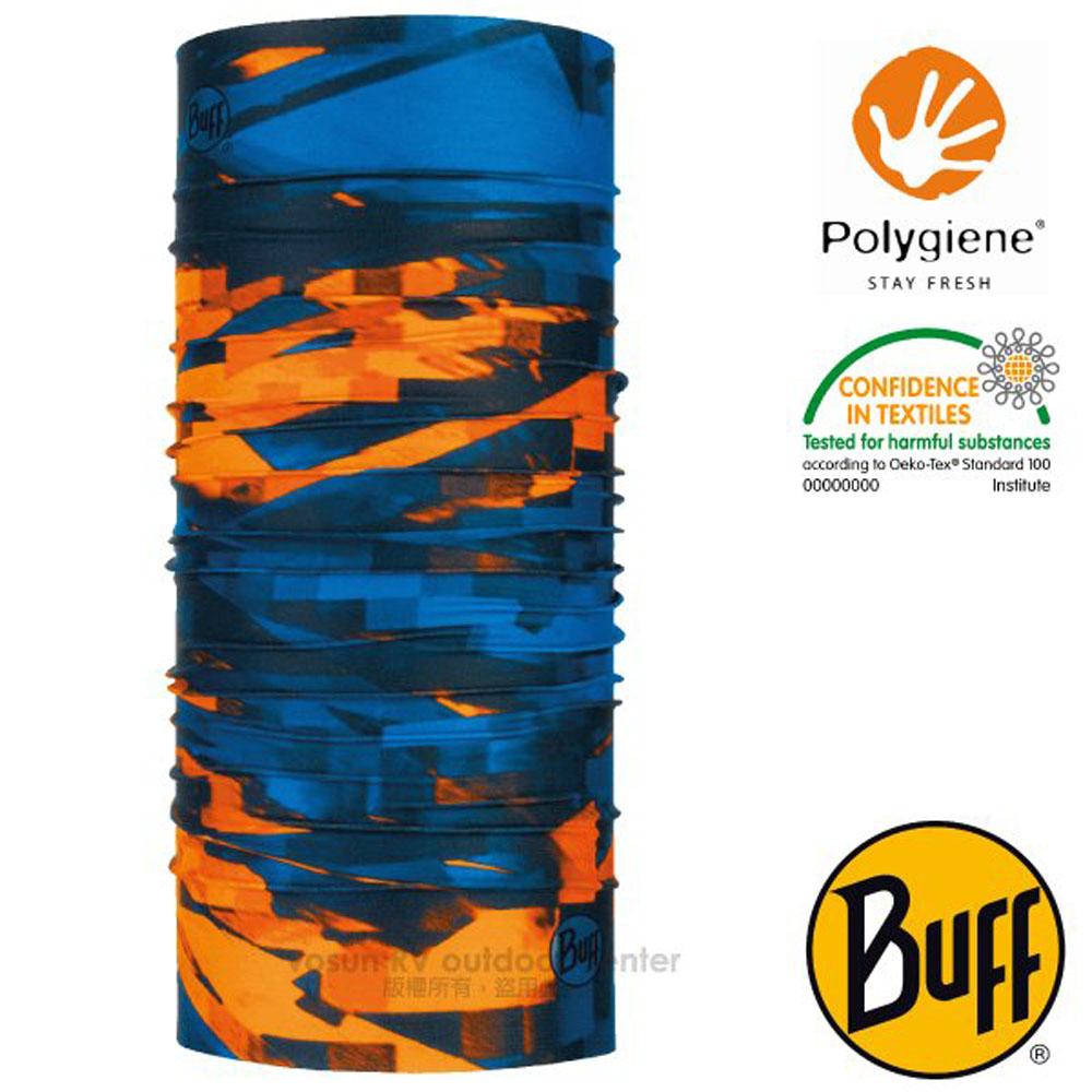 【西班牙 BUFF】Coolnet UV 超輕量彈性透氣魔術頭巾(吸溼排汗+抗菌除臭)_119368 橘藍格紋
