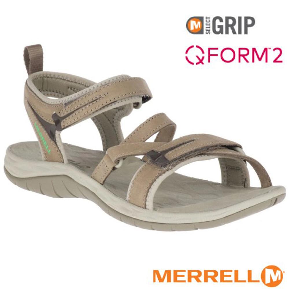 【美國 MERRELL】女新款 SIREN STRAP Q2 超輕量休閒涼鞋(防水牛巴戈皮)_ML19606 淺灰褐