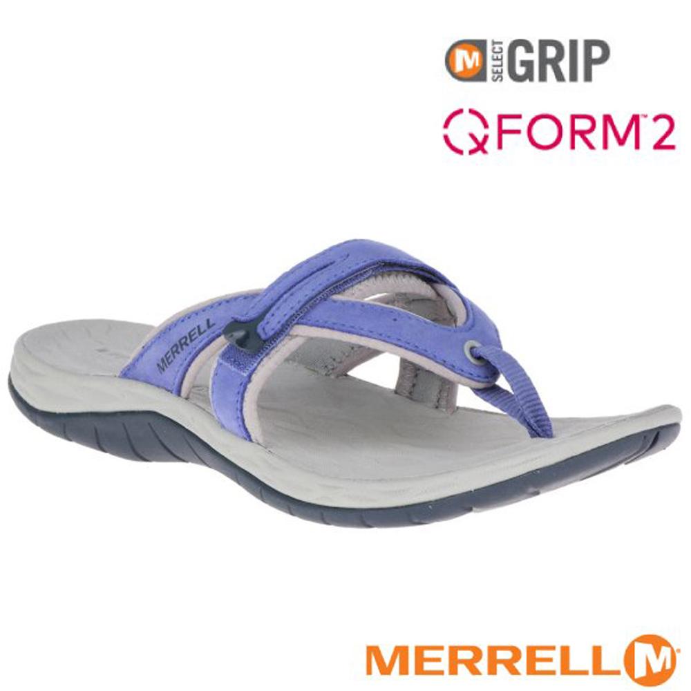 【美國 MERRELL】女新款 SIREN FLIP Q2 超輕量夾腳拖鞋(防水牛巴戈皮)_ML19604 淺藍紫