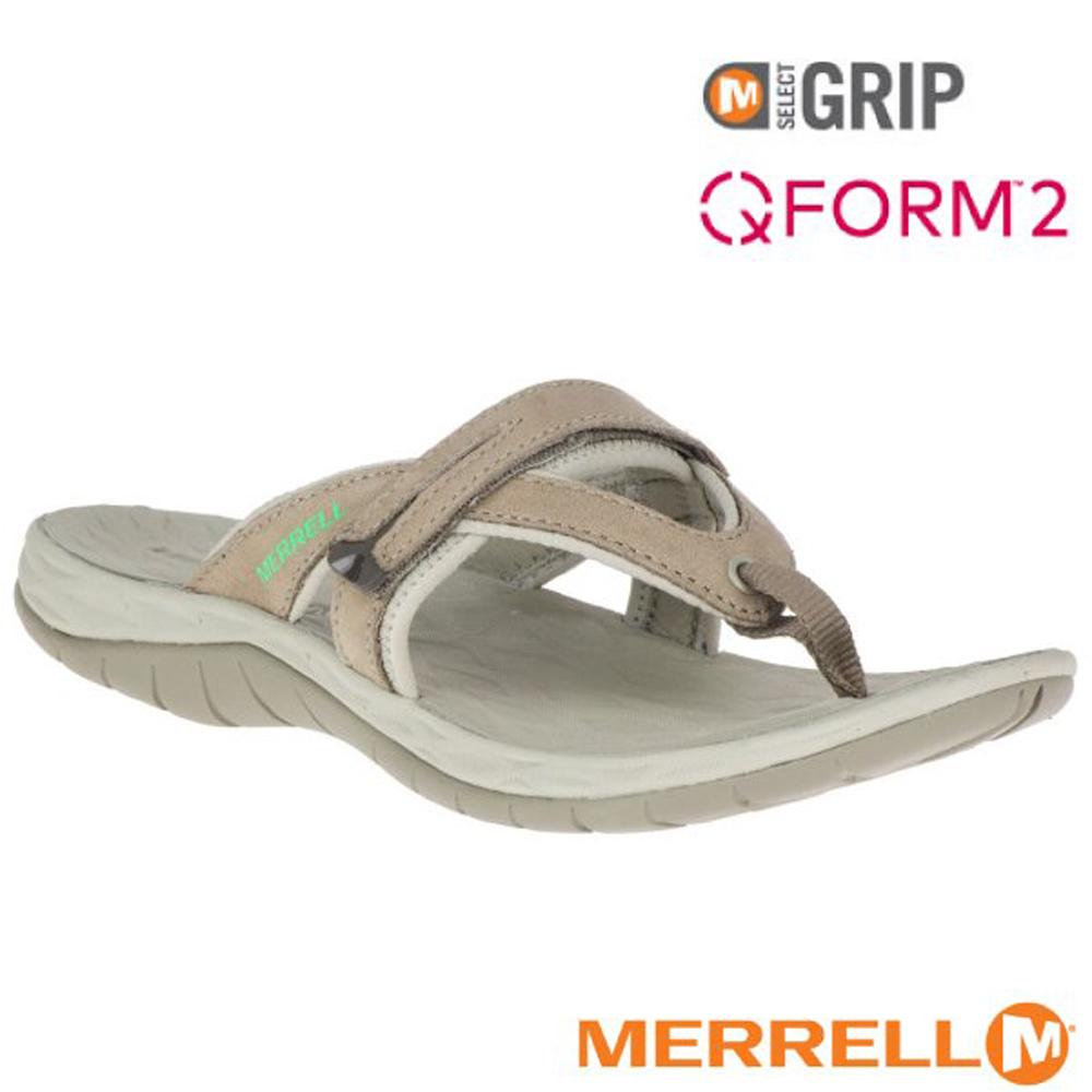 【美國 MERRELL】女新款 SIREN FLIP Q2 超輕量夾腳拖鞋(防水牛巴戈皮)_ML19600 淺灰褐