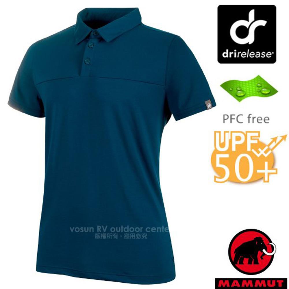 【瑞士 MAMMUT 長毛象】男款 Trovat Tour Polo 彈性短袖排汗快乾排汗衣/1017-00031-50134 波賽頓藍