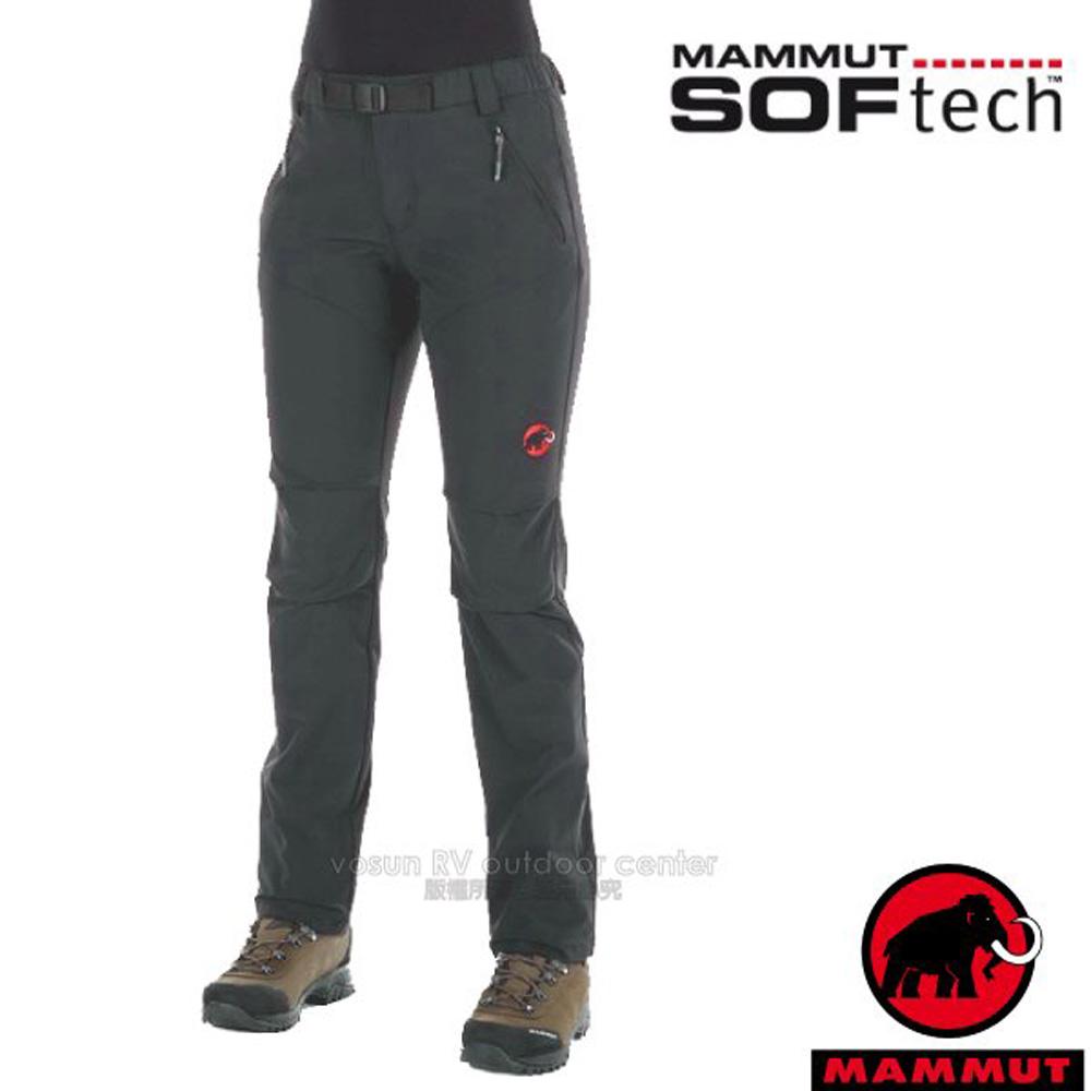 【瑞士 MAMMUT 長毛象】女 SOFtech TREKKERS 機能4D彈性快乾防潑水軟殼長褲/1020-09770-0239 風暴灰