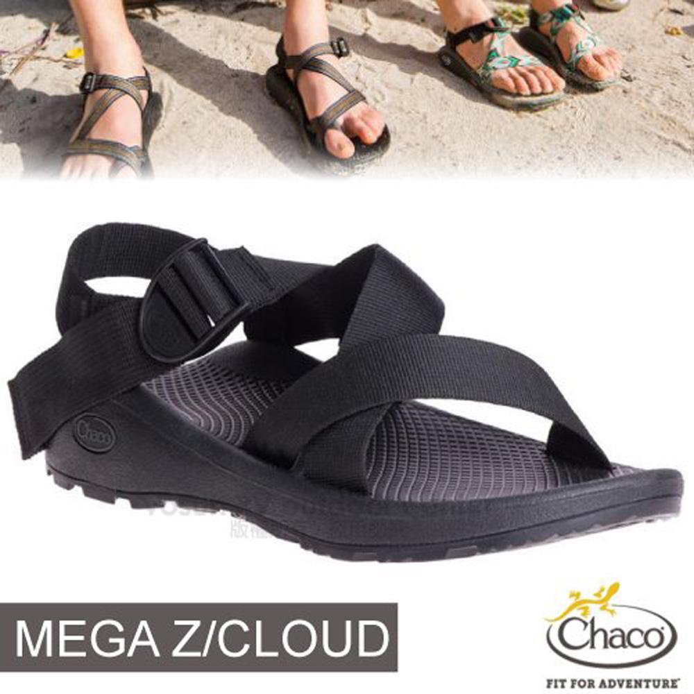 【美國 Chaco】男 MEGA Z/CLOUD 越野紓壓運動涼鞋(標準款-寬織帶)/CH-ZLM03-H405 黑