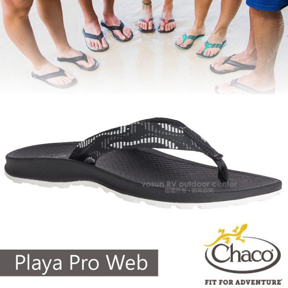 【美國 Chaco】女 PLAYA PRO WEB 越野沙灘夾腳拖鞋/戶外拖鞋/CH-PLW01-HF25 蒸氣黑