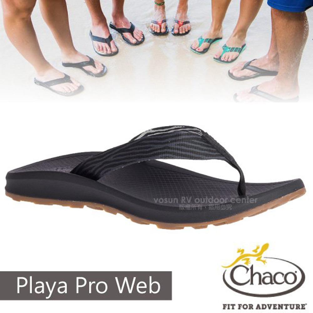 【美國 Chaco】男 PLAYA PRO WEB 越野沙灘夾腳拖鞋/戶外拖鞋/CH-PLM01-HF44 碎末黑