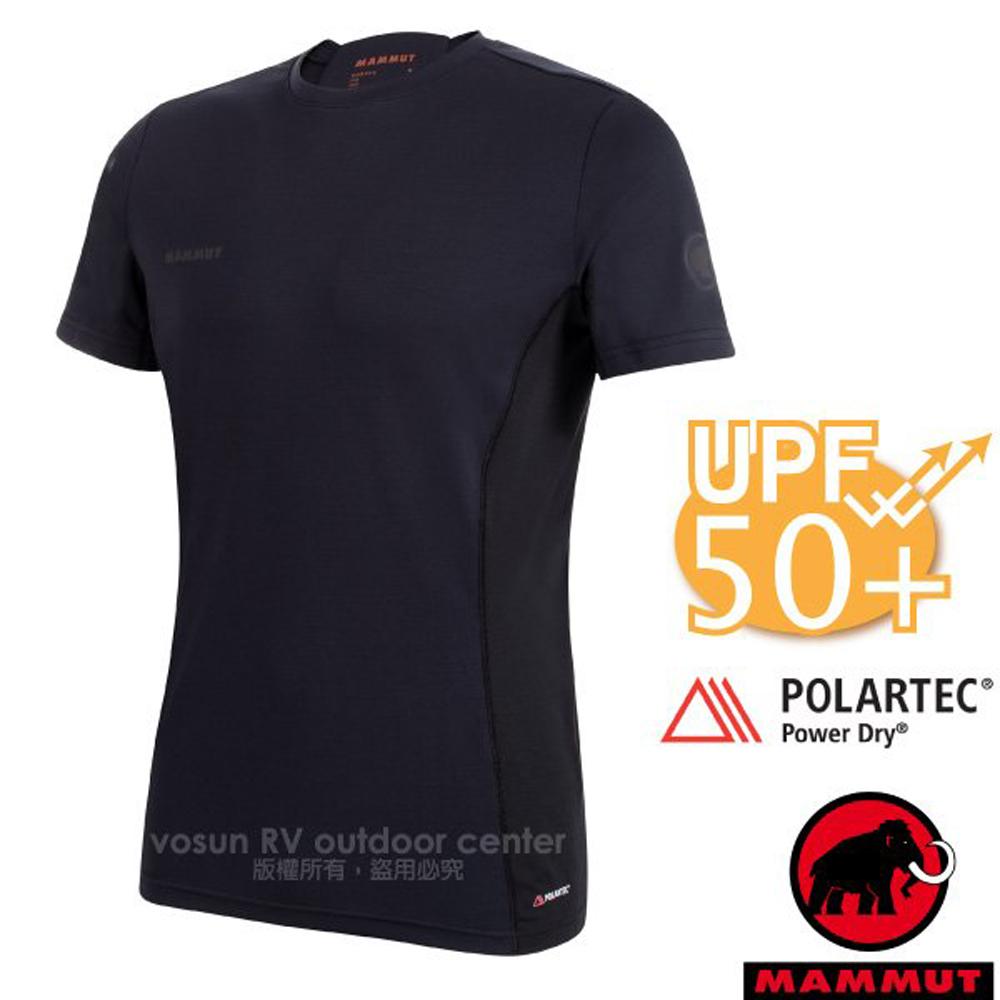 【瑞士 MAMMUT 長毛象】Sertig T-Shirt 男新款 短袖圓領多功能排汗上衣(UPF50抗UV)/1017-00110-0001 黑