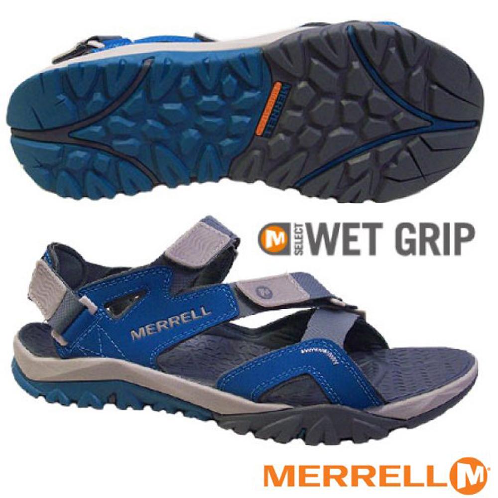 【美國 MERRELL】男 TETREX CREST STRAP 水陸兩棲運動鞋.涼鞋.溯溪鞋/ML48671 灰/藍