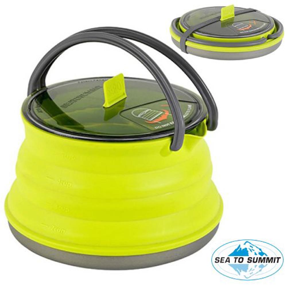 【澳洲 Sea To Summit】新款 輕質耐用可折疊水壺1.3L(煲底採用 6063-T6鋁合金).茶壺_STSAXKET1.3LI 萊姆綠