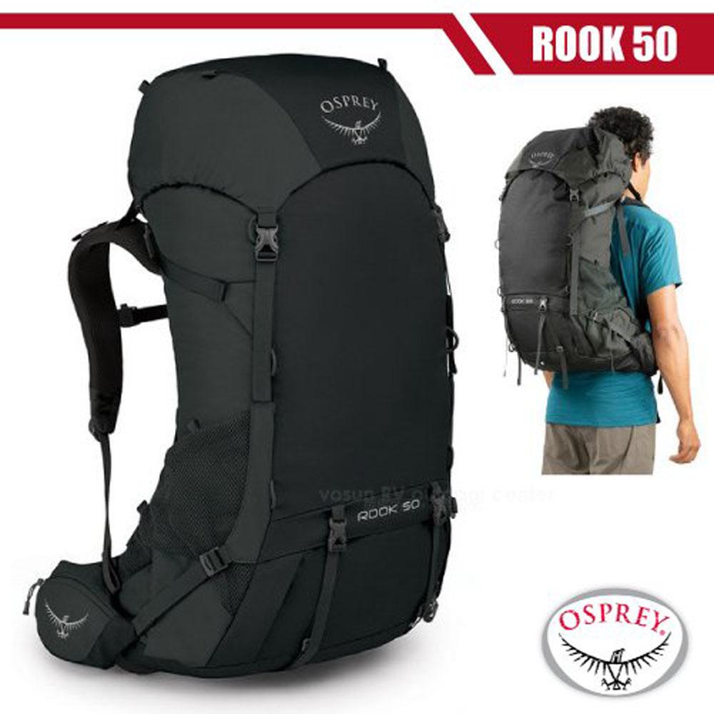 【美國 OSPREY】男新款 Rook 50 專業輕量透氣登山背包(附原廠防水背包套)_黑 R