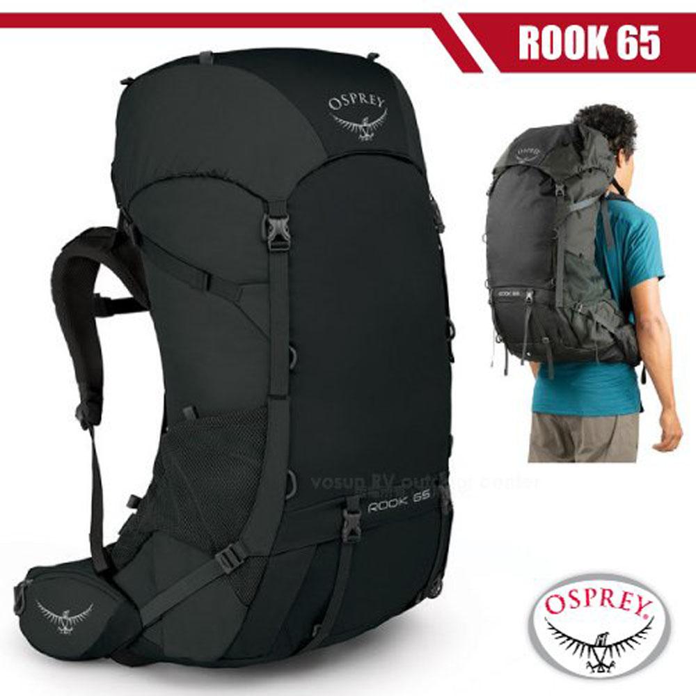 【美國 OSPREY】男新款 Rook 65 專業輕量透氣登山背包(附原廠防水背包套)_黑 R