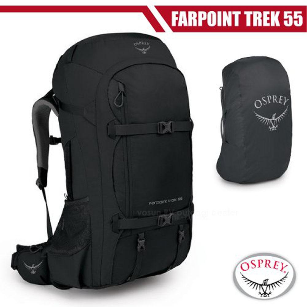 【美國 OSPREY】新款 Farpoint Trek Pack 55L 多功能自助旅行背包.行李箱背包(雙層內部壓縮帶)/黑 R