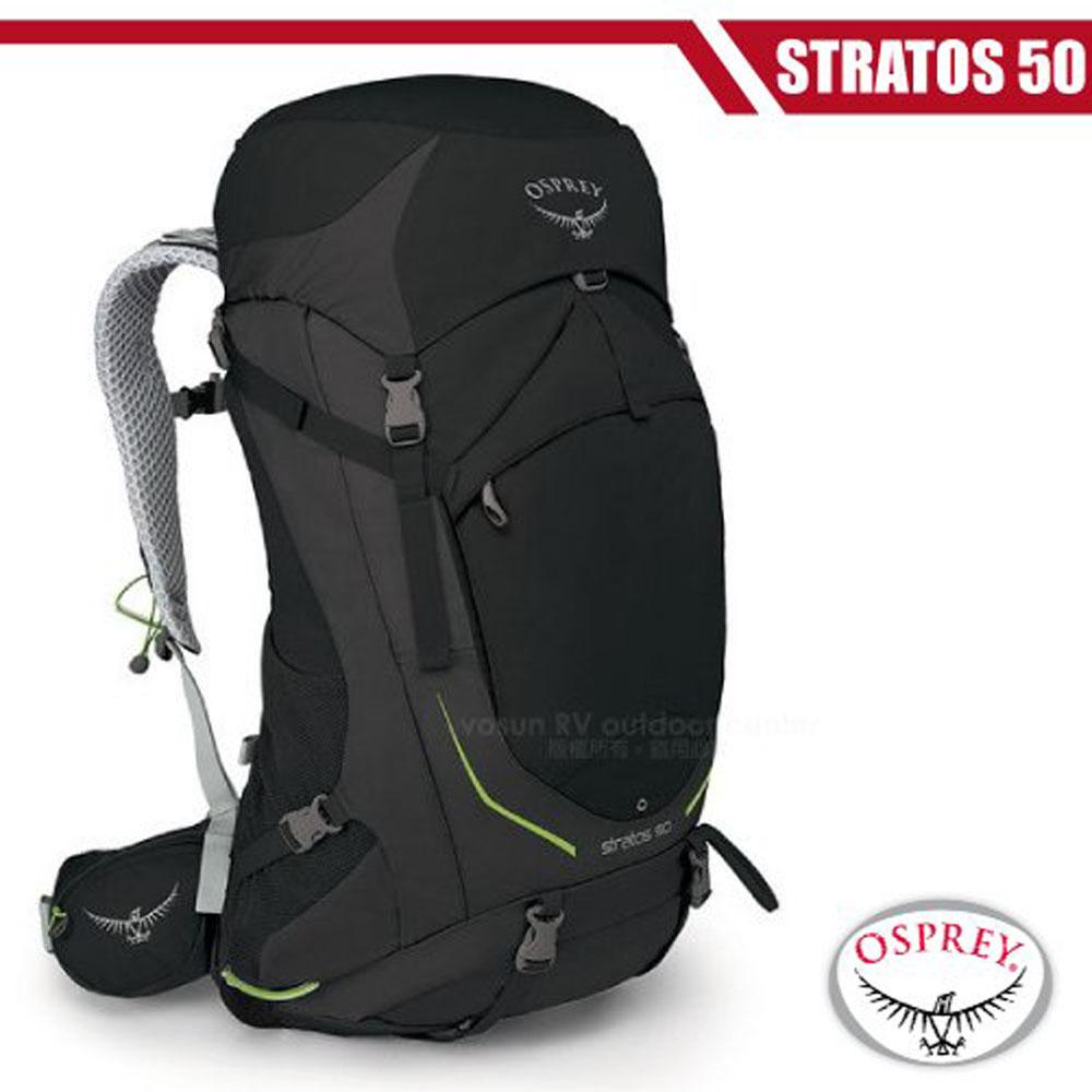【美國 OSPREY】新款 Stratos 50 透氣立體網架健行背包(防水背包套+水袋隔間+緊急哨)_黑 R