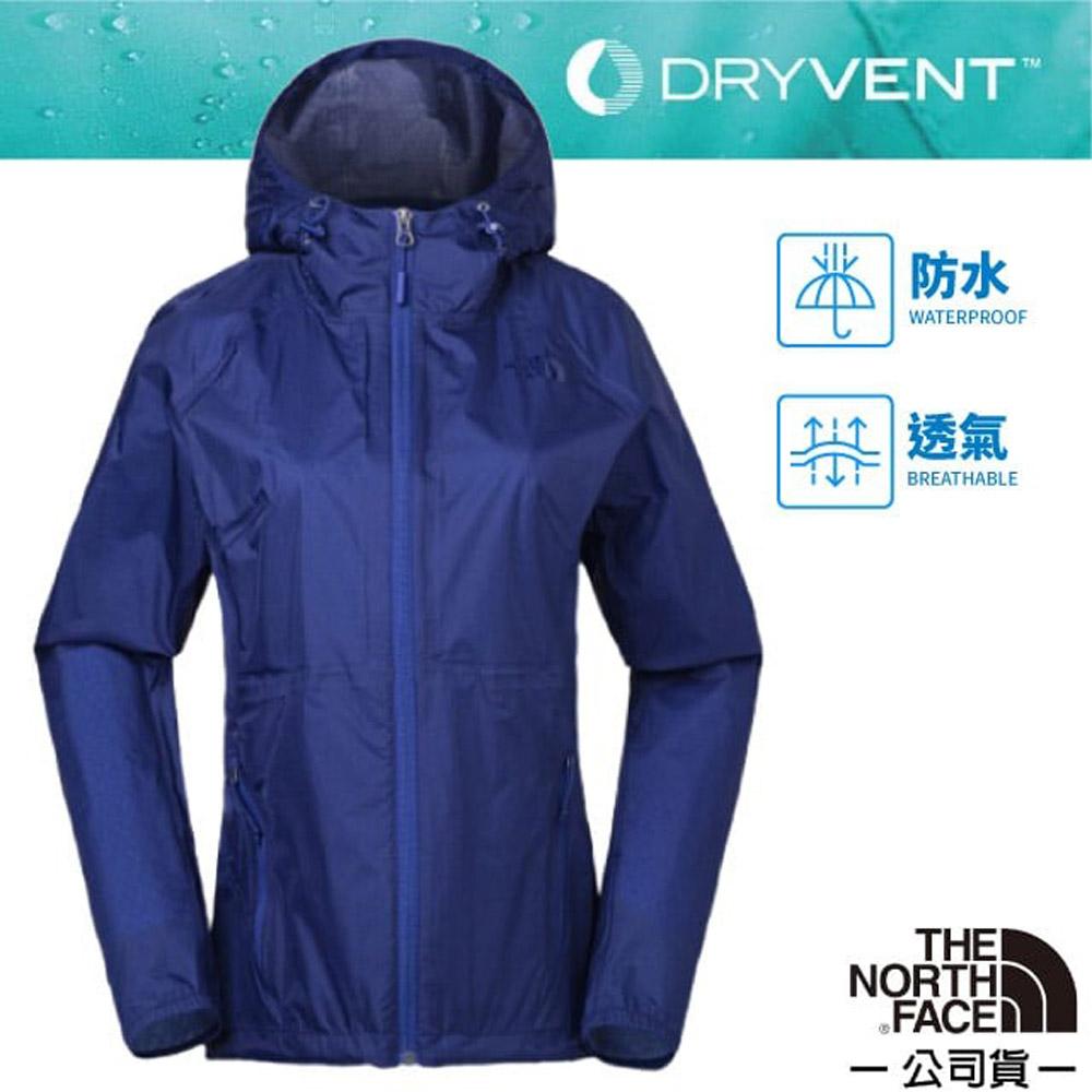【美國 The North Face】女款 防風防水透氣連帽外套.夾克/風雨衣/可打包式插手袋/ 3CHS 藍 V