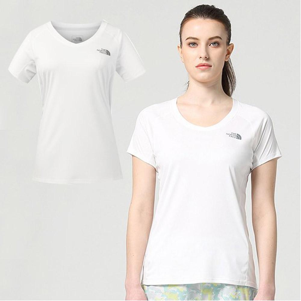 【美國 The North Face】女款 FlashDry-XD 閃電快乾耐磨短袖V領快排衫.機能性吸濕排汗衣/3GEK 白 V