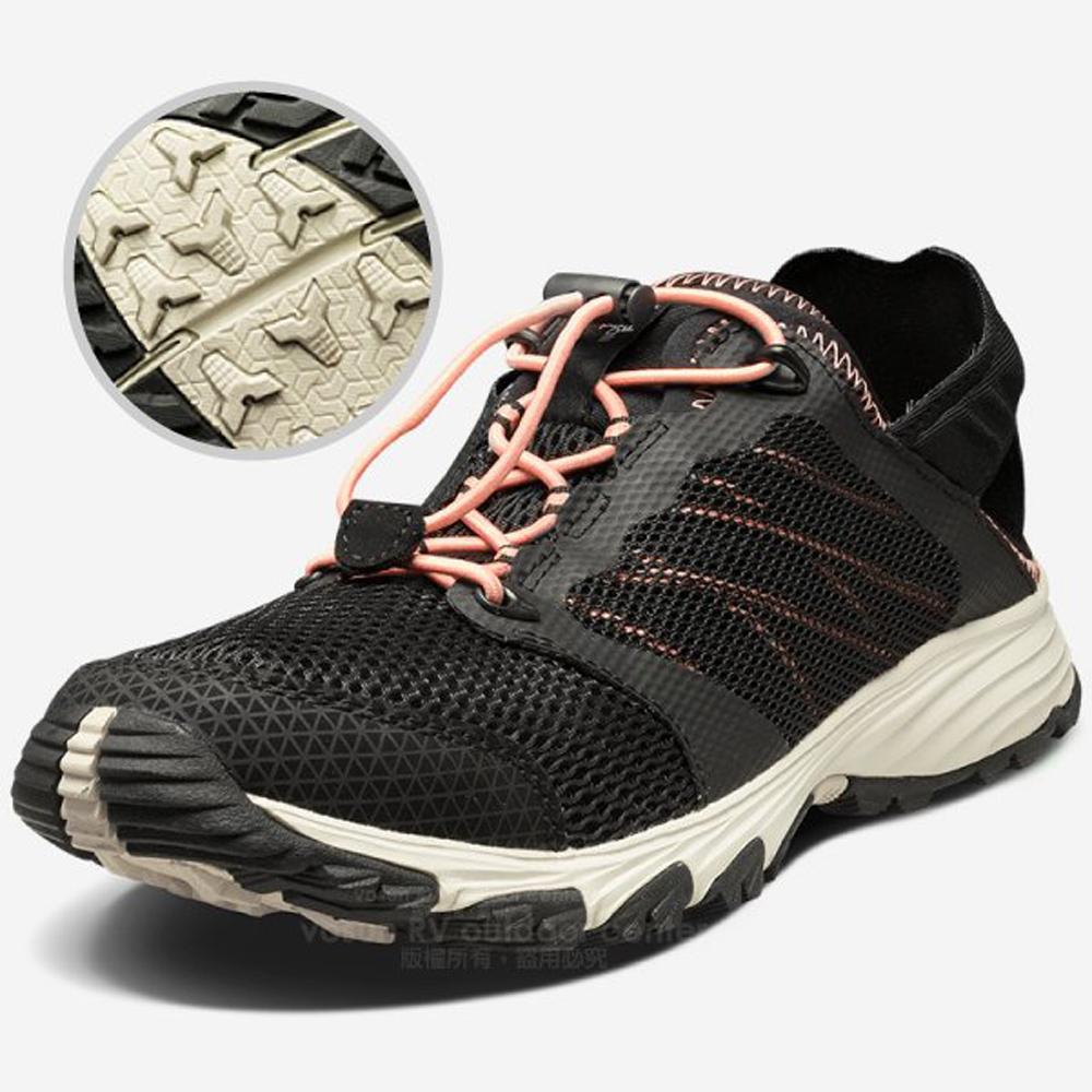【美國 The North Face】女款 透氣耐磨輕量登山鞋/UltrATAC橡膠外底/越野鞋.健行鞋/39I7 黑/橘 V