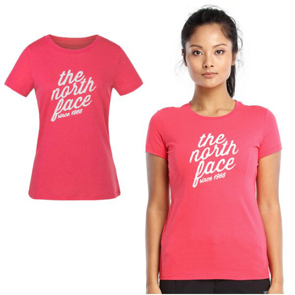 【美國 The North Face】女款 柔軟舒適短袖快排衫.機能性吸濕排汗衣.運動圓領T恤/3LBF 粉紅 V