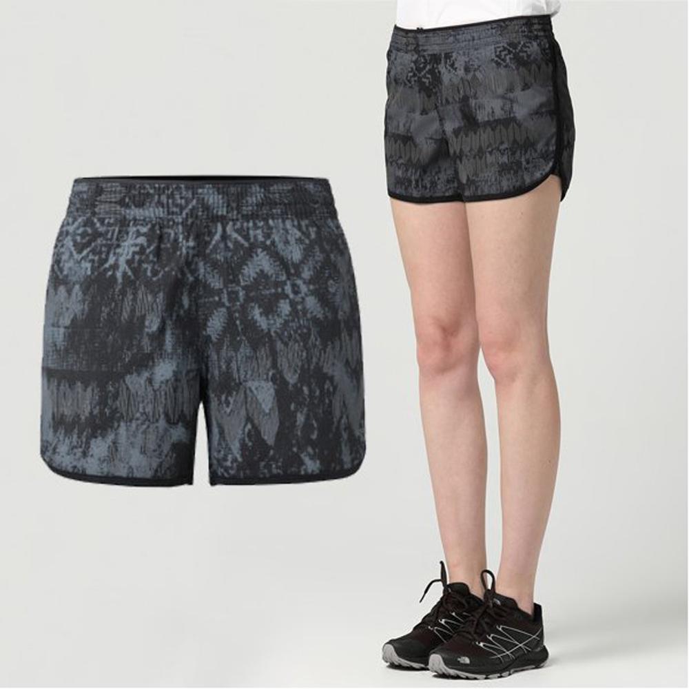 【美國 The North Face】女款 輕量印花透氣運動短褲.快乾短褲.慢跑褲/有內裡襯褲/2RH5 黑色印花 V
