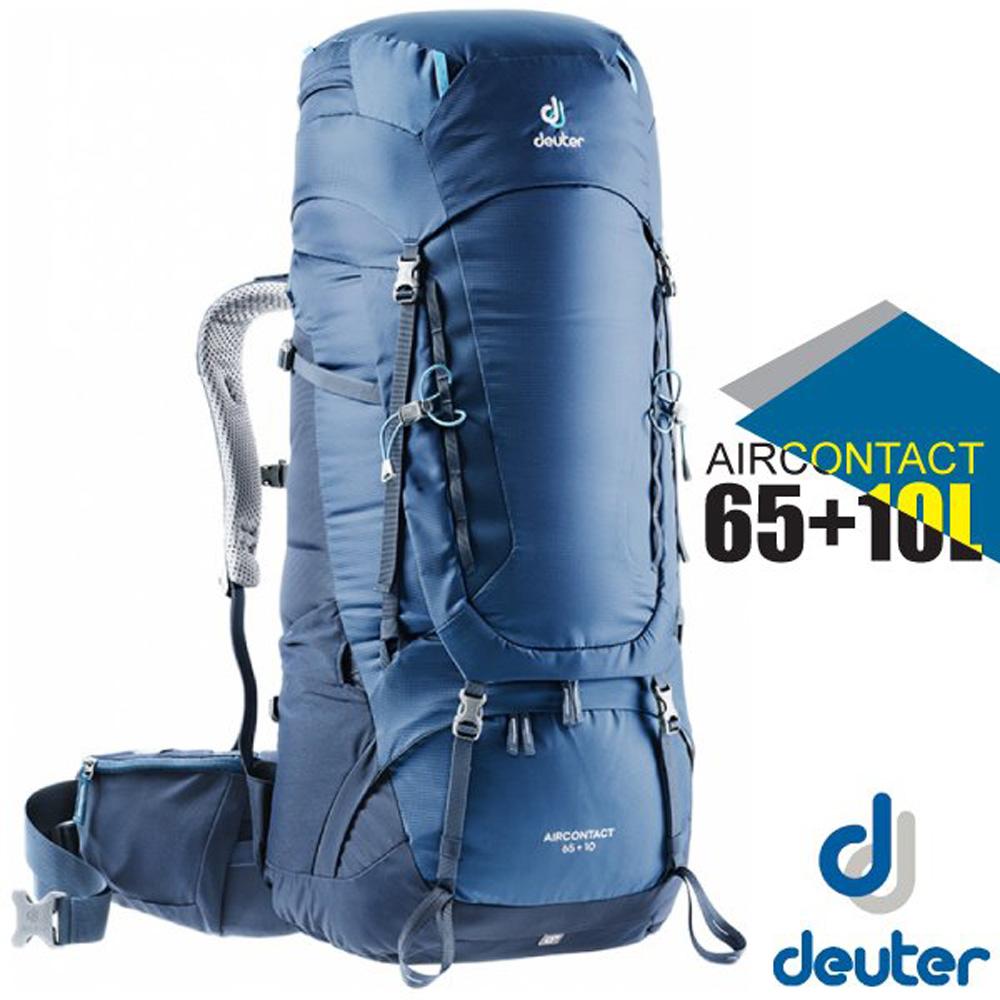 【德國 Deuter】Aircontact Lite 65+10L 專業輕量拔熱透氣背包(大容量設計)_3320519 藍