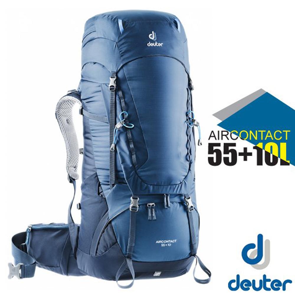 【德國 Deuter】Aircontact Lite 55+10L 專業輕量拔熱透氣背包(大容量設計)_3320319 藍