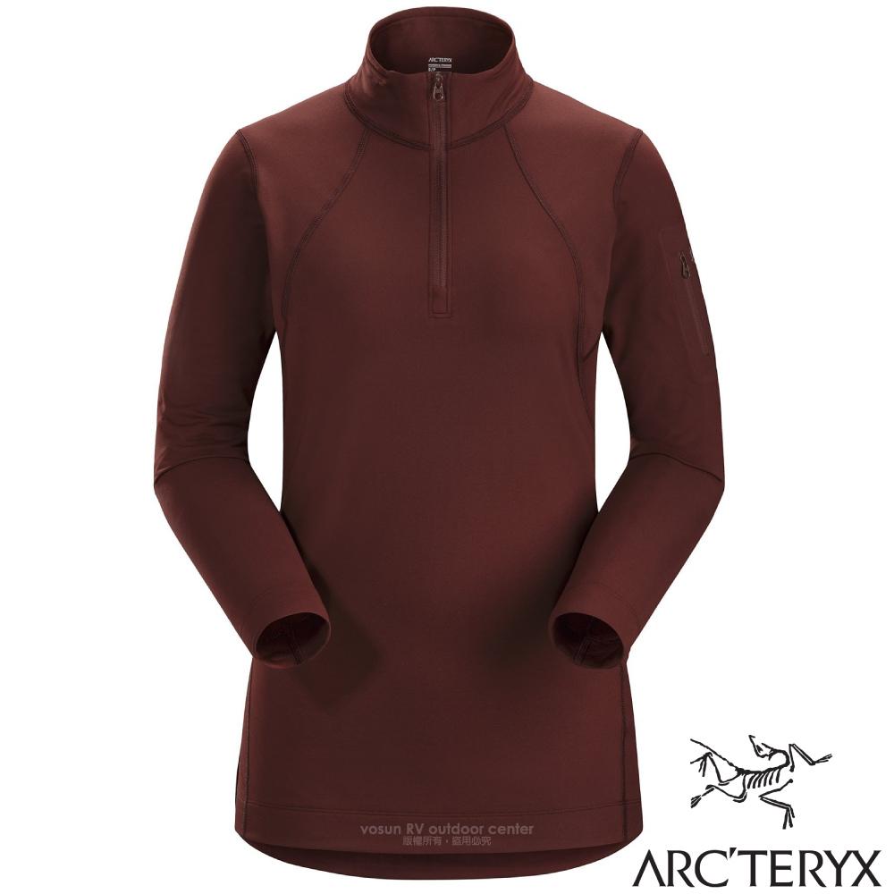 【加拿大 ARC'TERYX 始祖鳥】女新款 Rho LT Zip Neck 刷毛內層套頭衫.排汗透氣保暖內著/17261 溶劑褐