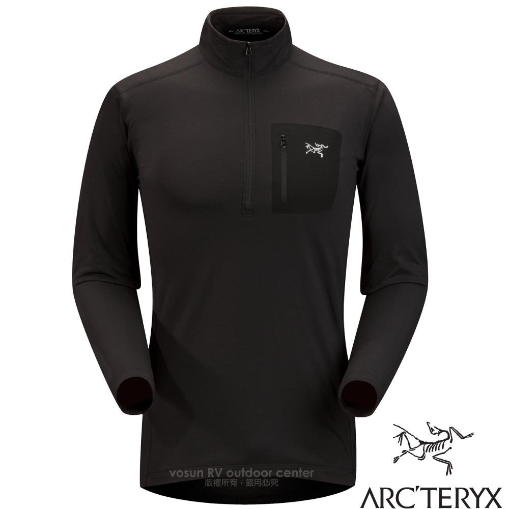 【加拿大 ARC'TERYX 始祖鳥】男新款 Rho LT Zip Neck 刷毛內層套頭衫.排汗透氣保暖內著/17260 黑