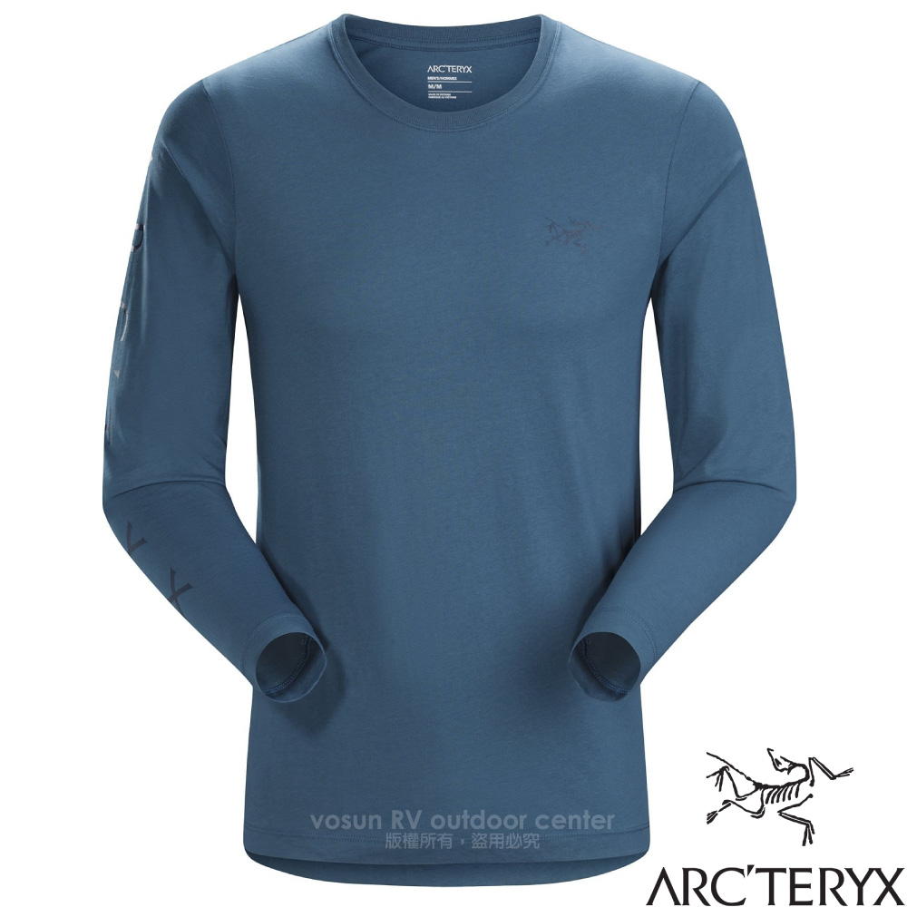 【加拿大 ARC'TERYX 始祖鳥】男新款 Downword 輕量天然有 機棉長袖圓領T恤.彈性透氣內著/24894 拉冬藍