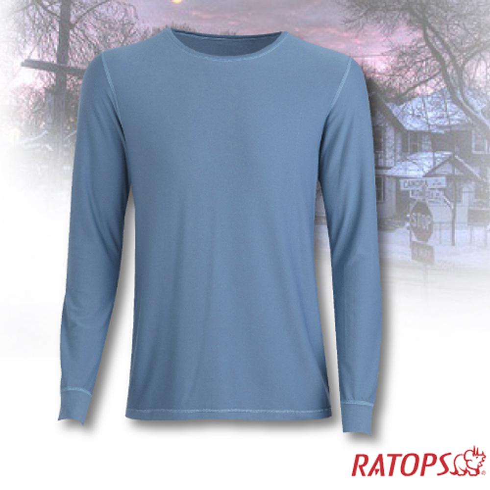 【瑞多仕-RATOPS】男款 VILOFT 圓領彈性保暖衣.長袖排汗衣/舒適.透氣.保暖.吸溼排汗_DB4642 藍灰綠色