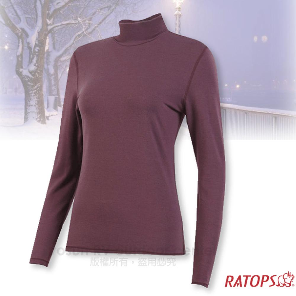 【瑞多仕-RATOPS】女款 VILOFT 高領彈性保暖衣.長袖排汗衣/舒適.透氣.保暖_DB4656 暗酒紅色