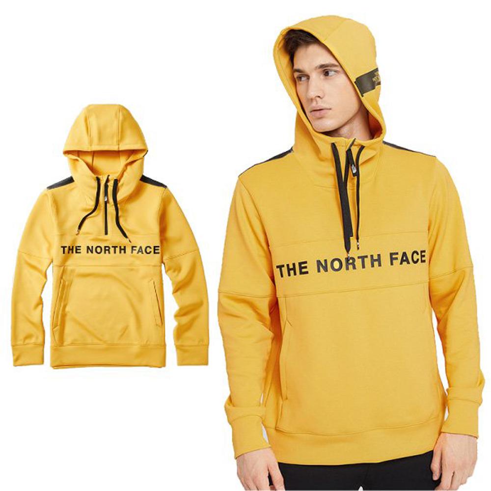 【美國 The North Face】中性新款 針織長袖連帽上衣.運動休閒服/袋鼠式插手袋/46HC 鮮黃 N