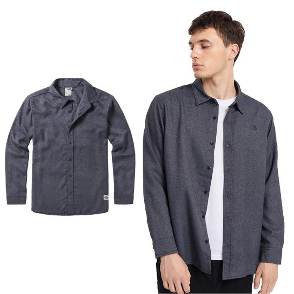 【美國 The North Face】男新款 時尚舒適保暖長袖襯衫.彈性透氣休閒上衣/46GE 瀝灰 N
