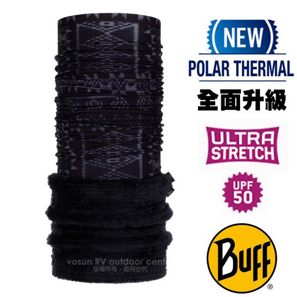 【西班牙 BUFF】Polar Thermal 超彈性保暖魔術頭巾 Plus(吸溼排汗+抗菌除臭)/120932 原民圖騰(黑)