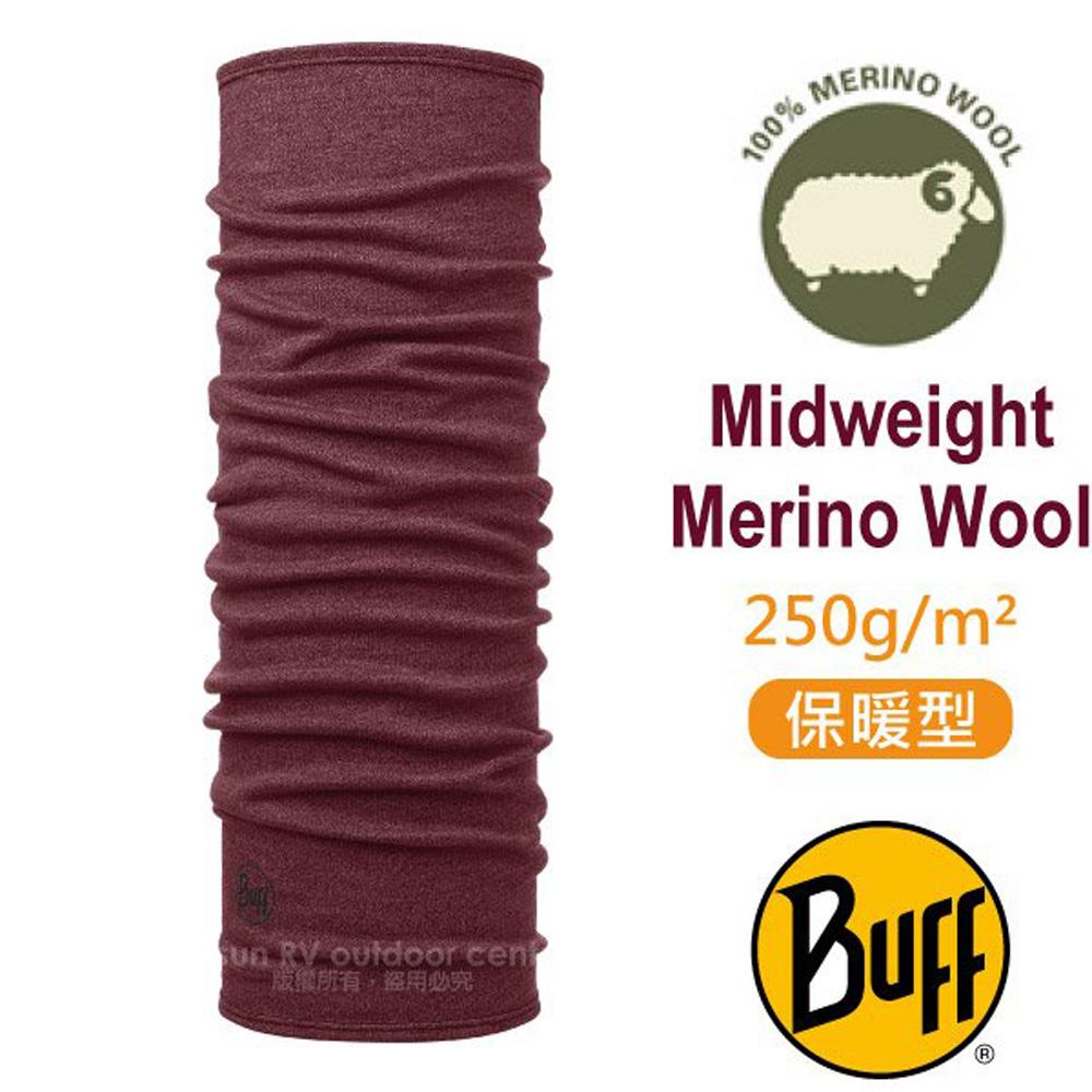 【西班牙 BUFF】保暖織色 Merino 美麗諾羊毛中量級超彈性恆溫保暖魔術頭巾_113022 美酒紅