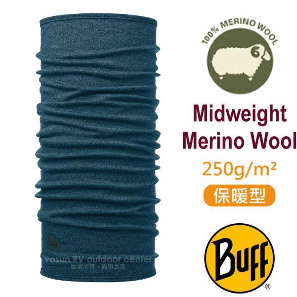 【西班牙 BUFF】保暖織色 Merino 美麗諾羊毛中量級超彈性恆溫保暖魔術頭巾_113022 海洋藍