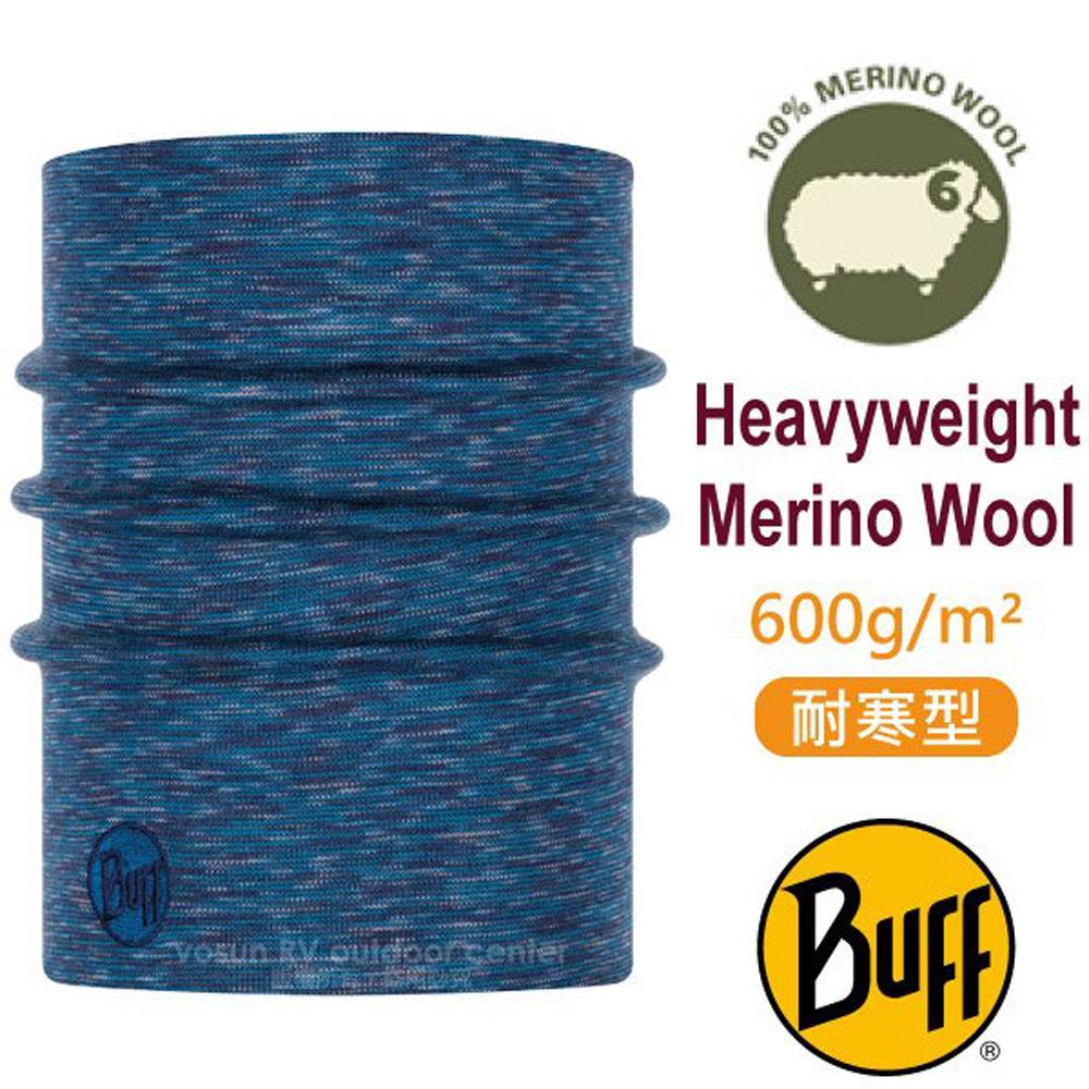 【西班牙 BUFF】耐寒條紋 Merino 美麗諾羊毛重量級超彈性恆溫保暖魔術領巾_117821 編織海藍