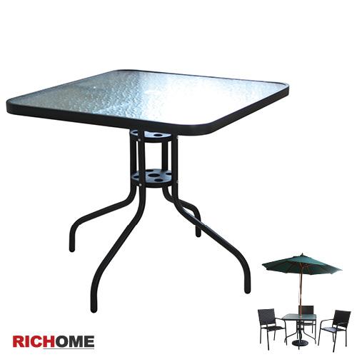 (原价1280元)【RICHOME】奥利尔玻璃方桌(大)