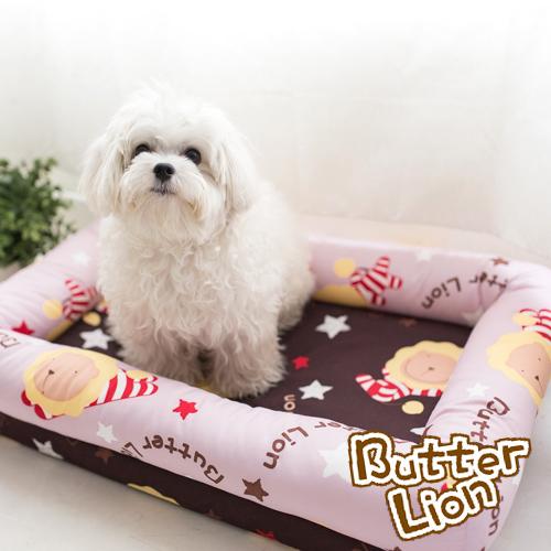 【奶油獅】台灣製造-保暖阻地氣-布套可拆洗-搖滾星星寵物記憶床墊-特大(25kg以上適用)-淡紫咖啡