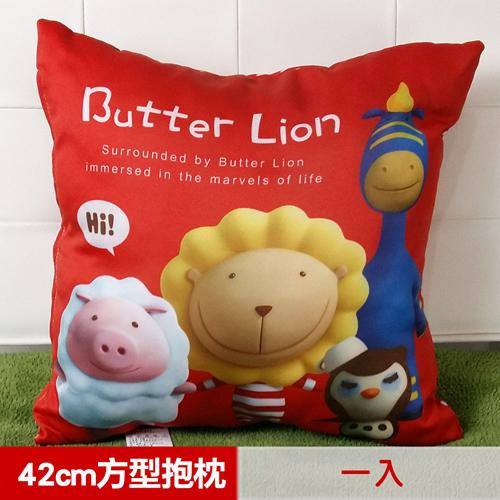 【奶油獅】總動員系列~台灣製造~專利全彩立體印刷方形抱枕(紅)(一入)_1入