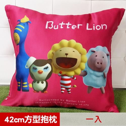 【奶油獅】總動員系列~台灣製造~專利全彩立體印刷方形抱枕(桃紅)(一入)_1入