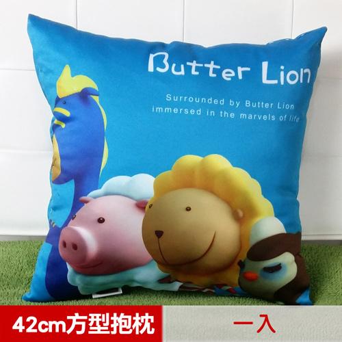 【奶油獅】總動員系列~台灣製造~專利全彩立體印刷方形抱枕(藍)(一入)_1入