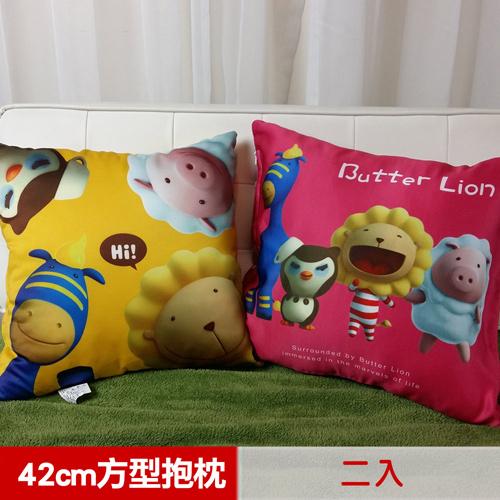 【奶油獅】好朋友總動員~台灣製造~專利全彩立體印刷方形抱枕(任選二入)_紅*2